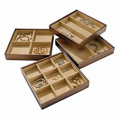 Stackable Jewelry Trays Set of 4 with Dual Jewelry Organization Jewelry Storage
