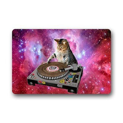 Cool Galaxy DJ Cat Funny Animal Pet Doormats Floor Mat Door Mat Rug