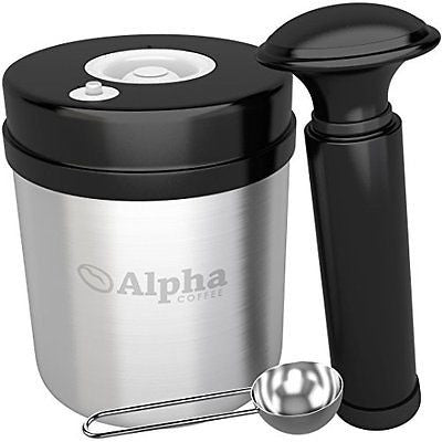 Alpha Coffee Container 1 Pound. Vacuum Seal Canister With Coffee Scoop