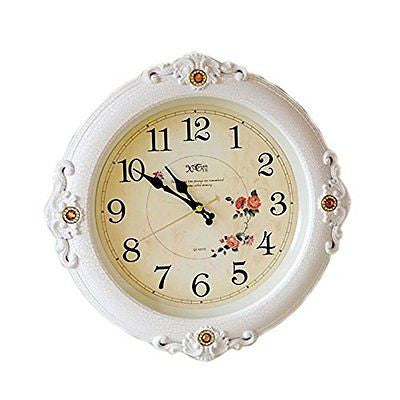 White Fashion Hanging Clock Creative Europe Style Sound Off Clock 16""