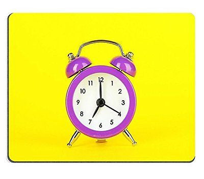 Luxlady Gaming Mousepad IMAGE ID: 24630077 Purple alarm clock on yellow