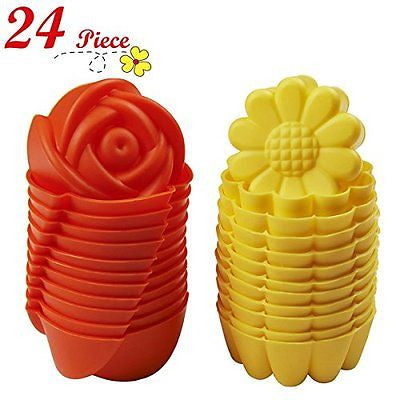 Chefaith 24 Pcs Reusable Silicone Baking Cups Cupcake Muffin Cups Non-Stick