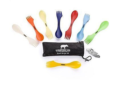 Tapirus Spork To Go V8 Set Eight Sporks + Can & Bottle Opener + Carry Case
