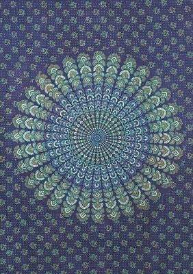 Blue Peacock Print Sanganer Handloom Throw Tapestry Tablecloth Spread