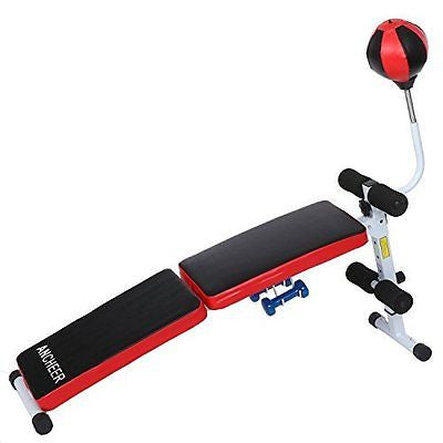 Ancheer Fully Adjustable Folding Gym Weight Bench Fitness Dumbbell With Speed Ba