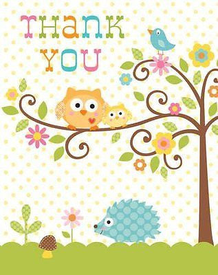 Creative Converting Happi Tree Sweet Baby Thank You Notes, 8 Count