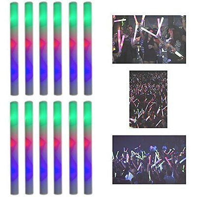 "16"" Multicolor LED Flashing Light Effect Sticks Color Changing Foam Baton"