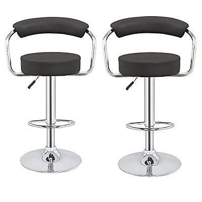 2 x Homegear M1 50s Diner Adjustable Swivel Faux Leather Bar Stools Black