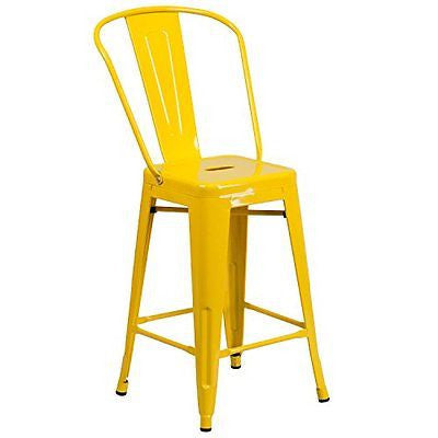 "Flash Furniture High Metal Indoor-Outdoor Counter Height Stool 24"" Yellow"