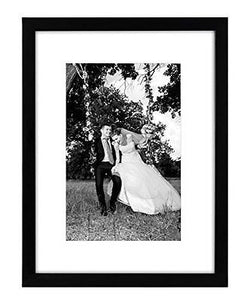 12x16 Black Picture Frame - Matted to Fit Pictures 9x12 Inches or 12x16 Without