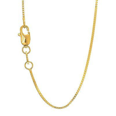 14k Solid Yellow Gold 0.6 mm Box Chain Anklet, Lobster Clasp - 10