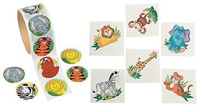 Jungle Zoo Animal Theme Kid's Party Favors (100 stickers & 72 Tattoos)