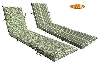 Bossima Indoor/Outdoor Green/Grey Damask/Striped Chaise Lounge Cushion