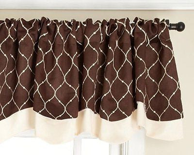 Stylemaster Bleecker 54 by 17-Inch Lined Embroidered Layered Valance, Mocha