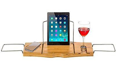 Clean Healthy Living Bamboo Bathtub Caddy Tray, with Reading Tray & Wine Glass