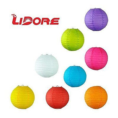 LIDORE 8 Pack Assorted Different Multi Color Chinese Paper Lanterns Lamps
