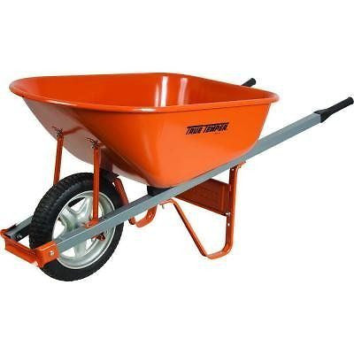 Steel Wheelbarrow with Steel Handles and Flat Free Tire 6 Cu. Ft.