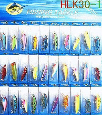 30Pcs Kinds Of Fishing Lures Crankbaits Hooks Minnow Bass Baits Hooks Tackle