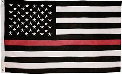 Thin Red Line Flag - 3X5 Foot with Embroidered Stars and Sewn Stripes