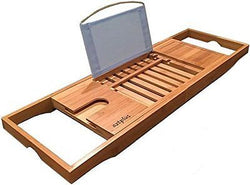 AZT Plus Luxury Organic Bamboo Bathtub Caddy Tray with Extending Sides