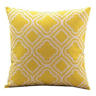 Cotton Linen Decorative Throw Pillow Case Cushion Cover (Lemon Argyle Pattern)