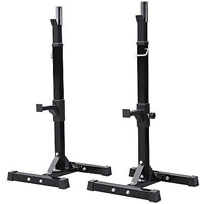 Yaheetech 2pcs Adjustable Rack Standard Solid Steel Squat Stands Barbell Free