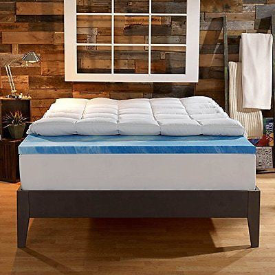 Innovations 4-Inch Dual Layer Mattress Topper - Gel Memory Foam Queen Size