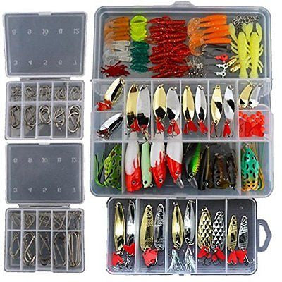 226Pcs Fishing Lure Tackle Kit Crank Soft Hard Bait Fishing Lure Metal Jig