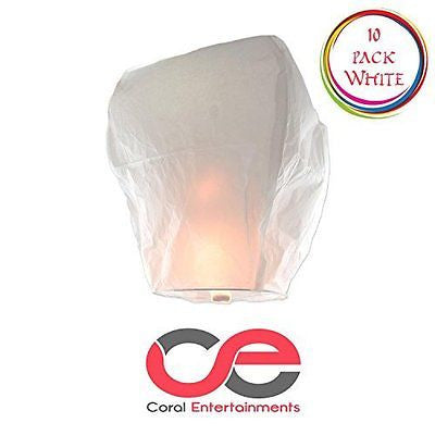 Chinese Lanterns 10-Pack White Fully Assembled Lanterns By Coral Entertainments