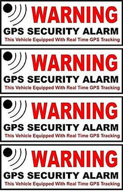 4-Pc Master Modern Outside Adhesive Warning GPS Security Alarm Stickers Signs