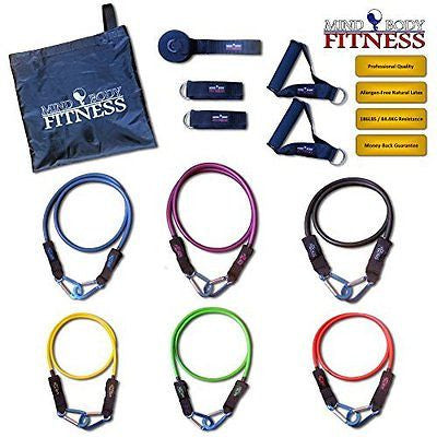 Mind Body Fitness Resistance Band Set - HEAVY DUTY 12pc / 186lb Home Gym (6 Colo