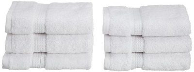 Superior 900 Gram Egyptian Cotton 6-Piece Face Towel Set, White