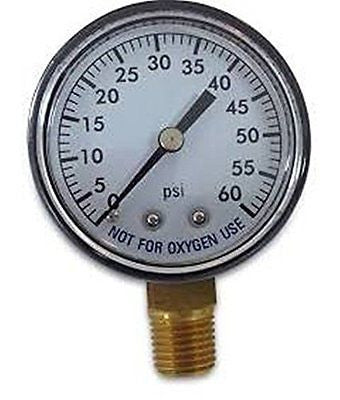 Super Pro 80960BU Pool Spa Filter Water Pressure Gauge, 0-60 PSI, Bottom Mount