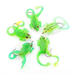 5pcs Frog Topwater Fishing Lure Crankbait Hook Bass Bait Tackle Bionic Toad Soft