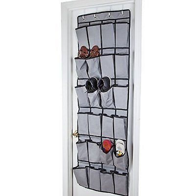 Shoe Organizer24 Large Pockets and 4 Reversible Over the Door Hooks