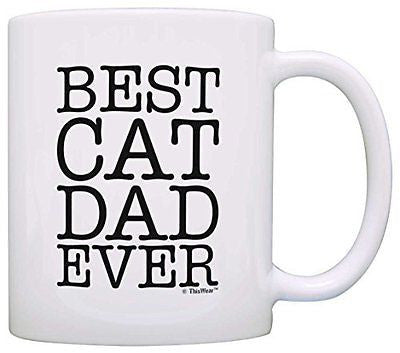 Cat Lover Gifts Best Cat Dad Ever Pet Owner Rescue Gift Coffee Mug Tea Cup White