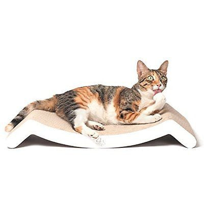 4CLAWS Scratching Lounge & Bed (White) - BASICS Collection Cat Scratcher