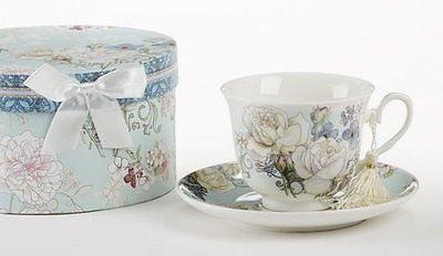 Delton Products Blue Camellia Porcelain Tea Cup and Saucer with Gift Box