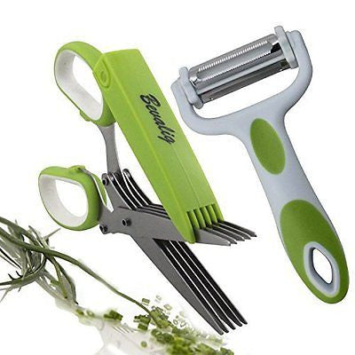 Herb Scissors 3-in-1 Click N Peel Multipurpose Peeler Premium Cooking Gadgets