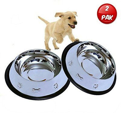 Mr. Peanut's Set of 2 Etched Stainless Steel Dog Bowls 32oz Dry Weight