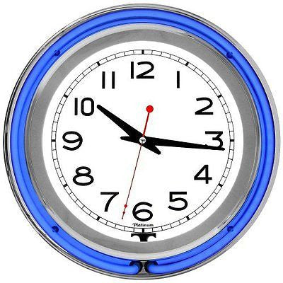 Trademark Gameroom Blue Chrome Double Ring Neon Clock, 14