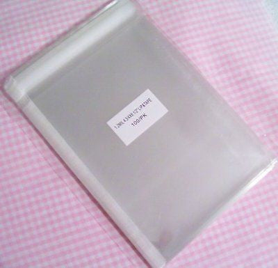 4 3/4in. X 6 1/2in. Flat Cellophane Bags with Adhesive Closure - pack of 100