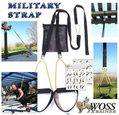 WOSS Military Strap Trainer Black with Built-In Door Anchor