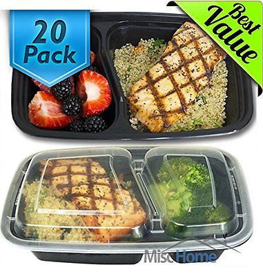 [20 Pack] 32 Oz. 2 Compartment Containers  BPA Free Food Storage Container