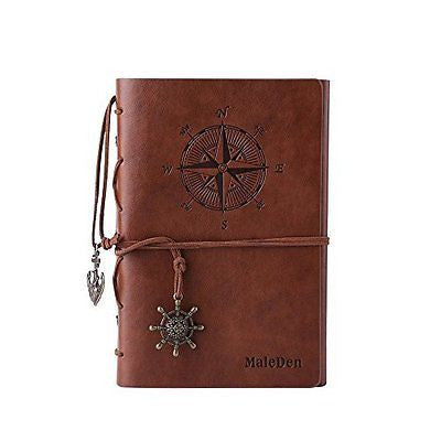 Vintage Refillable Journey Diary, MALEDEN Premium PU Leather Classic Embossed