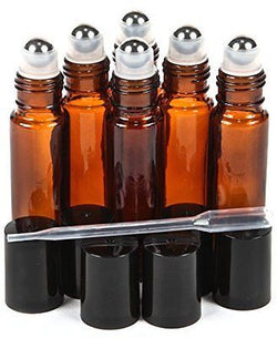 6 New, High Quality, Amber, 10 ml Glass Roll-on Bottles with Stainless Steel