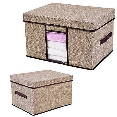 Storage Box Pretid Foldable Storage Cubes Basket Bin Linen Style with Lid