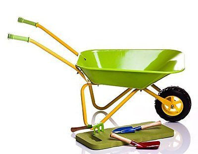 Children's Green Metal Wheelbarrow + Tools & KneePad - Limited Edition