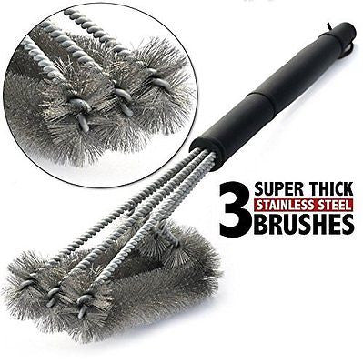 Number-One BBQ Barbecue Grill Brush 18 inches Stainless Steel 3 Brushes in 1