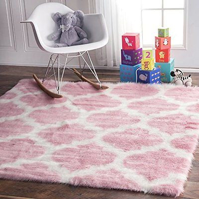 Faux Sheepskin Solid Soft and Plush Cloud Trellis Kids Pink Shag Area Rugs